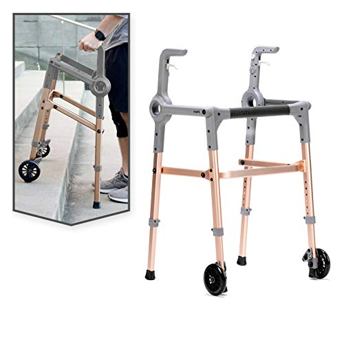 Roami Progressive Mobility Aid Walker with 2 Wheels, Rollator, Self-Adjusting Stair Assist, Go Up & Down Stairs, Ramps, & Steps, Mobility Aid for Adults or Seniors, Folding & Adjustable, Rose Gold