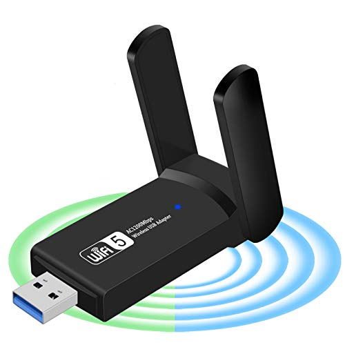 USB WiFi Adapter for PC 1200Mbps Wireless Network Adapter WiFi Dongle Stick for Desktop Dual Band 2.4GHz/300Mbps 5.8GHz/867Mbps USB 3.0 Compatible with Win XP/7/8/10/vista, Mac 10.6-10.15, Linux