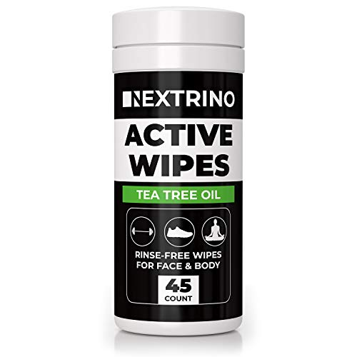 Nextrino Body Wipes For Adults, Men & Women - Biodegradable Tea Tree Oil Cleansing Towelettes - Gym, Workout, Camping, Travel Shower Wipe