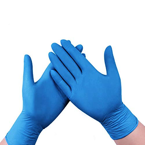 100 Pcs Nitrile Gloves, 4 mils Disposable Gloves, Powder Free, Latex Free, Industrial Gloves, Cleaning Glove for Family Use, Blue (Blue, M)