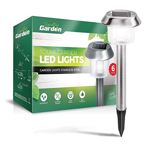 Signature Garden 6 Pack Solar Garden Lights - Super-Bright 15 Lumens ABS Plastic; Makes Garden Pathways & Flower Beds Look Great - Easy NO-Wire Installation; All-Weather/Water-Resistant