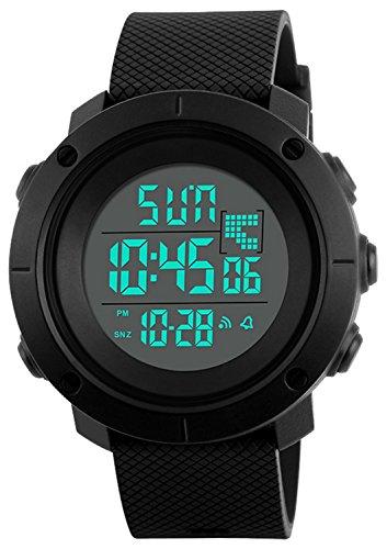 Digital Watch Teen Boys Mens Sports Water Resistant Outdoor Easy Read Military Back Light Black Big Face 1213 (Black)