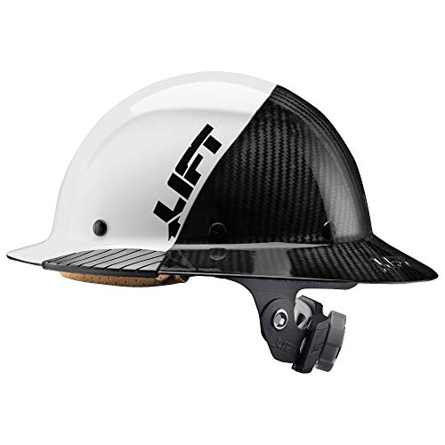 Lift Safety DAX Fifty 50 Carbon Fiber Full Brim Hardhat (White)