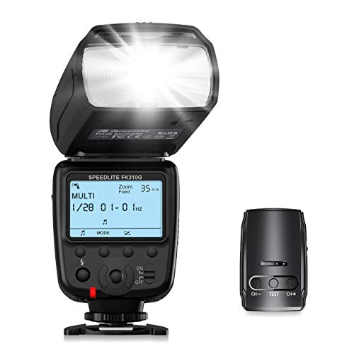 Powerextra LCD Display Flash Speedlite, 2.4G Wireless Flash Trigger Transmitter Kit for CA Nikon Pentax Panasonic Olympus and Sony DSLR Camera, Digital Cameras with Standard Hot Shoe