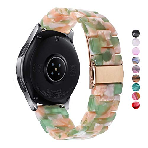 DELELE Compatible Samsung Gear S3 / Galaxy Watch Band, 22mm Colorful Resin Replacement Strap with Stainless Steel Metal Buckle for Gear S3 Frontier / Classic / Galaxy Watch 46mm Women Men (Pink green)
