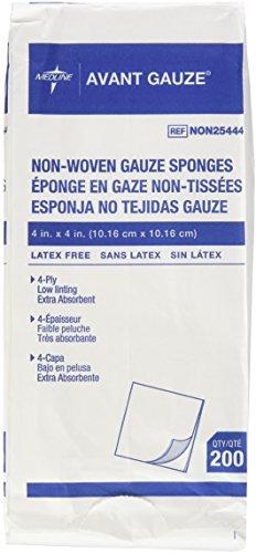 Medline - NON25444 Avant Gauze, Non-Woven and Non-Sterile Sponges, 4 X 4 Inch, 200 Count