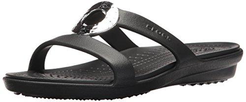 Crocs Women's Sanrah Hammered Met Sandal W Flat, black/black, 5 M US
