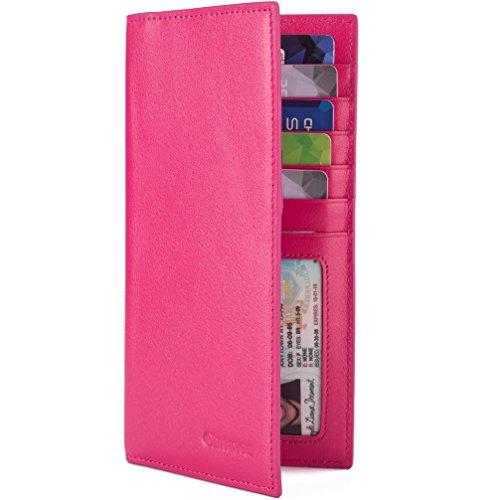 Slim Leather ID/Credit Card Holder Long Wallet with RFID Blocking - Hot Pink