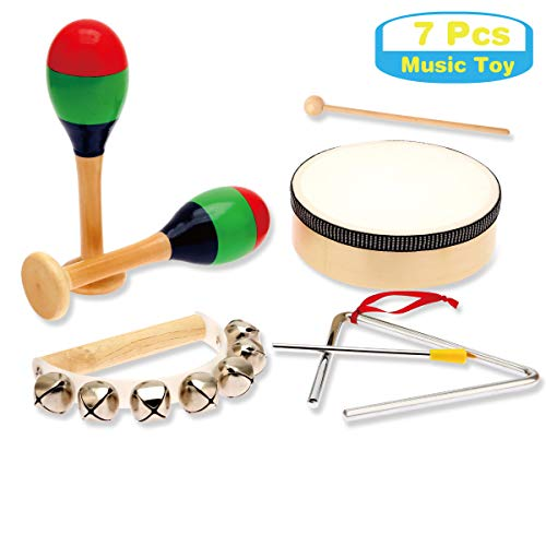 MUSICUBE Kids STEM Wood Musical Instruments, Percussion Set with Drums for Kids Children, ASTM Certified Toddler STEM Musical Toys for School, Music Center, 7 Pcs