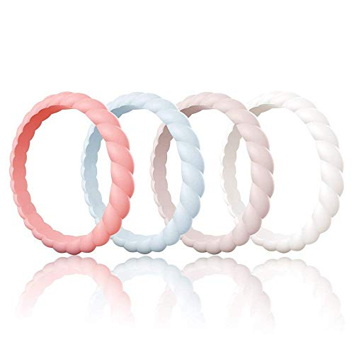 Egnaro Silicone Wedding Rings for Women, Thin and Stackble Rubber Wedding Bands,Size 4-9,Comfortable fit,No-Toxic,Skin Safe