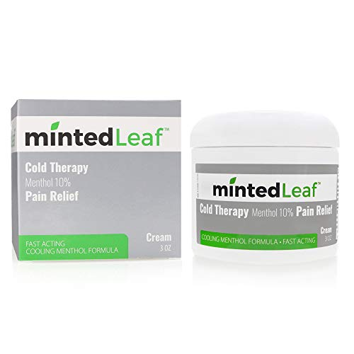 mintedLeaf - Cold Therapy Menthol 10% Pain Relief Cream- Relief for Minor Aches and Pains, Muscle and Joints Soreness, Simple Back Aches, Sprains, and Bruises, Sulfate and Paraben Free, 3oz