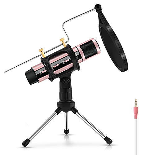 Studio Microphone, ZealSound Condenser Recording & Broadcasting Microphone With Stand Built-in Sound Card Echo Recording Karaoke Singing for Phone PC Garageband Smule Live Stream & YouTube (Rose Gold)