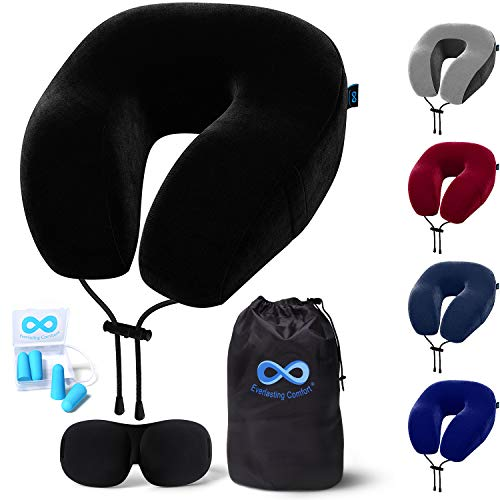 Everlasting Comfort Memory Foam Travel Pillow - Includes Eye Masks and Earplugs - Neck Pillow for Airplane (Black)