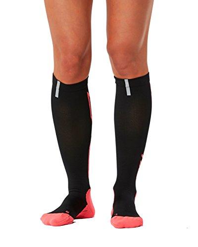 2XU Women's Hyoptik Compression Socks, Black/Pink, Small