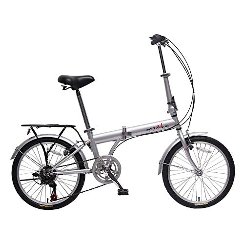 unYOUsual U Transformer 20' Folding City Bike Bicycle 6 Speed Shimano Gear Steel Frame Mudguard Rear Carrier Front Rear Wheel Reflectors Silver