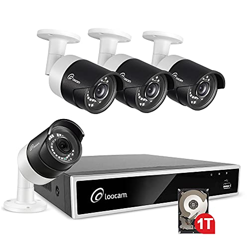 Loocam 1080p Home Security Camera System, 8CH DVR w/1TB HDD, 4 x 2MP 1920TVL IP67 Weatherproof Outdoor Surveillance CCTV Bullet Camera, Plug & Play, Motion Detection,Easy Smartphone & PC Remote Access