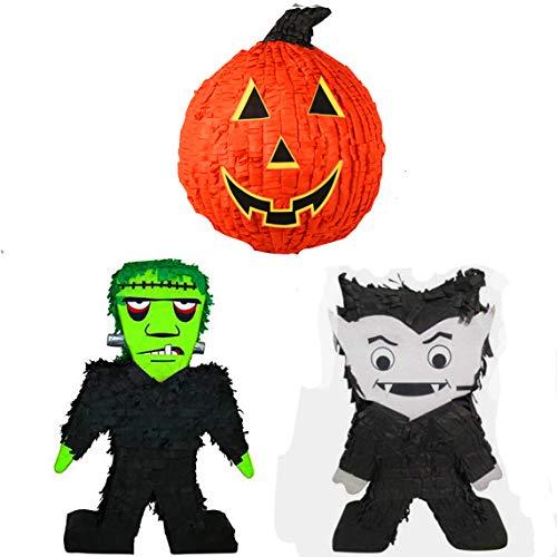 Halloween Set 3 Large Pinatas | Frank-e-Stein 14' x 20' Vampire 14' x 20' Pumpkin 12'