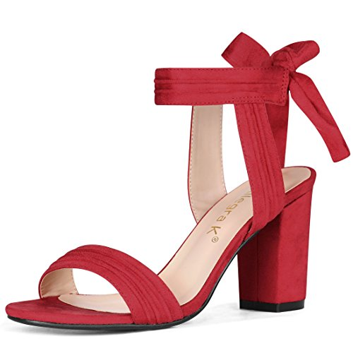 Allegra K Women's Open Toe Ankle Tie Back Chunky Heel Red Sandals - 8 M US