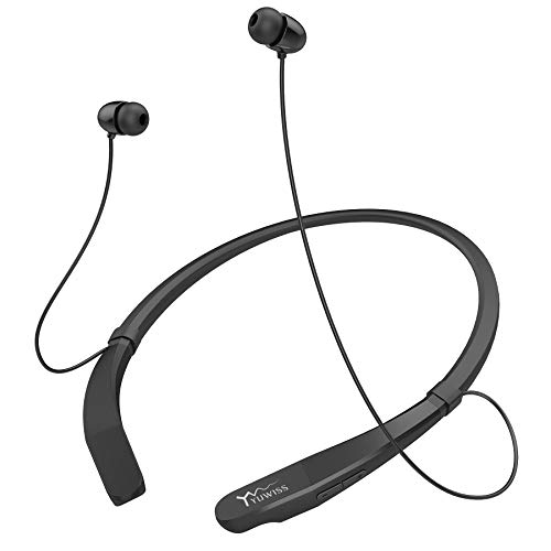 Yuwiss Bluetooth Headphones Neckband V5.0 Lightweight Wireless Headset Call Vibrate Alert Sport Earbuds w/Mic Earphones 10-Hour Playtime for Gym Running Compatible with iPhone Samsung Android (Dark)
