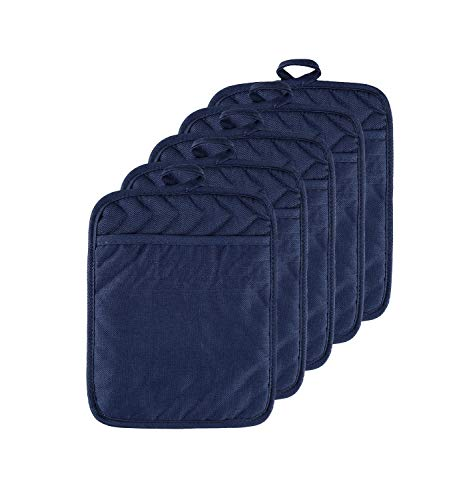 VEIKERY Oven Pot Holder with Pocket 100% Cotton Heat Resistant Coaster Potholder Kitchen Hot Pad Oven Mitts for Cooking and Baking Square Set of 5 (Navy Blue, 5)