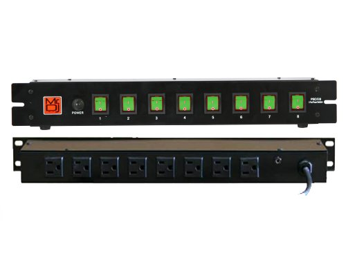 Mr. Dj PSC-400 Stage Light with 8-Channel Power Strip and Lighted Green Toggles On/Off Power Panel