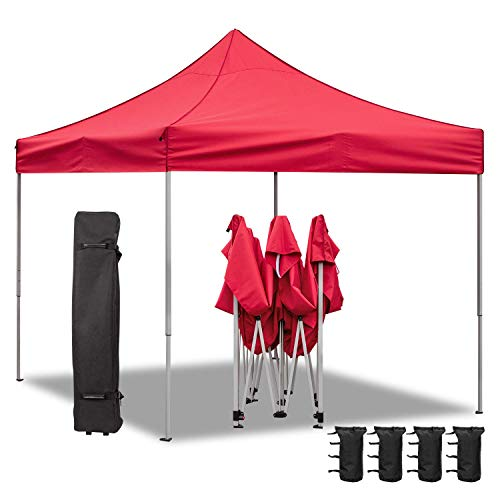 Homall Pop Up Canopy 10X10 FT Ez Up Canopy Tent Commercial Instant Shelter Patio Sun Shade Canopies with Roller Bag, 4 Canopy Sand Bags (Red)