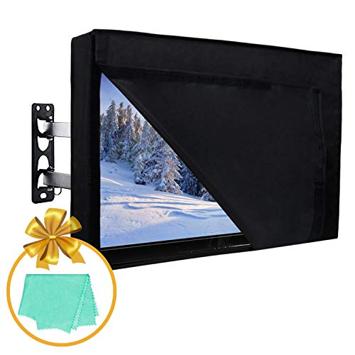 36-38 inch Outdoor TV Cover with Front Flap for Watching TV on Rainy Days, Convenient Use without Remove, Durable TV Cover with Free Cleaning Cloth, Black