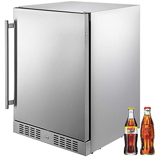 VBENLEM 24'' Built-in Stainless Steel Beverage Cooler 5.5 cu.ft. Soda & Beer Small Reversible Door Refrigerator 142 Can Fridge for Home Bar Office Commercial Indoor Outdoor Use (150L,Silver)