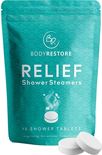 Essential Oil Shower Steamer Set – 15 Mint and Eucalyptus Scented Aromatherapy Shower Steamers 30g – Vapor Steam Tablets - Relaxation Gifts for Women - Body Restore