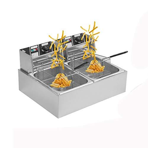 Belovedkai Electric Deep Fryer, 13L/26L Stainless Steel Commercial Electric Deep Fat Fryer Temperature Control Timing Fryer with Drain & Basket,Single Tank/Dual Tank (20L Double Basket)