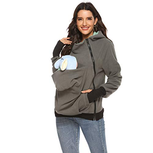 Womens Maternity Kangaroo Hoodies Fleece 3PCS Zipper Up Hooded Sweatshirt for Baby Carriers (Grey,L)
