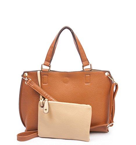 Overbrooke Reversible Crossbody Tote Bag, Tan & Cream - Vegan Leather Womens Handbag with Coin Purse