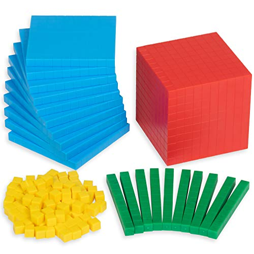 Edx Education Four Color Plastic Base Ten Set - in Home Learning Manipulative for Early Math - Set of 121 - Teach Kids Number Concepts, Place Value and Volume