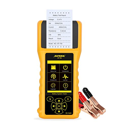 AUTOOL BT-760 12V/24V 30-1700 CCA Auto Battery Load Tester, Cranking and Charging System Diagnostic Tool with Built-in Thermal Printer for All Cars