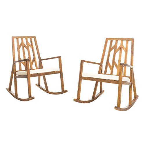Christopher Knight Home Nuna Outdoor Wood Rocking Chairs with Cushions, 2-Pcs Set, Teak Finish