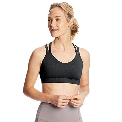 C9 Champion Women's Medium Support Compression Strappy Back Cami Bra, Ebony, M