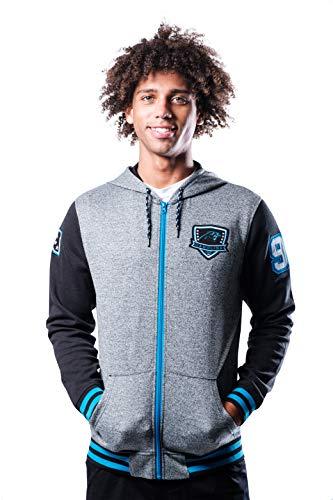 Ultra Game NFL Carolina Panthers Mens Full Zip Soft Fleece Hoodie Letterman Varsity Jacket, Team Color, Small