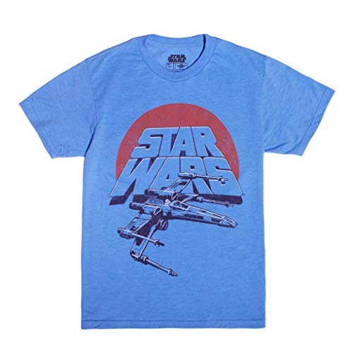 STAR WARS Big Boy's Vintage Inspired X-Wing Fighter T-Shirt Light Blue