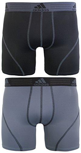 adidas Men's Sport Performance Boxer Briefs Underwear (2 Pack), Black/Thunder Thunder/Black, X-LARGE