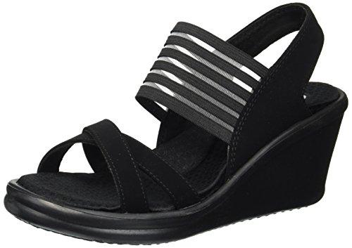 Skechers Cali Women's Rumblers-Solar Burst Wedge Sandal,black/black,7 M US