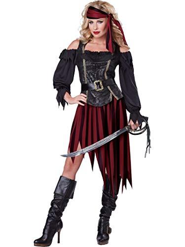 California Costumes Women's Queen Of The High Seas Sexy Pirate Swashbuckler Buccaneer, Black/Burgundy, Medium