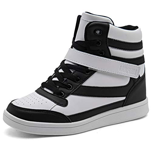 UBFEN Women's Shoes Hidden Wedges 5.5cm Fashion Sneakers Ankle Boots Bootie Platform Heel High Top Casual Sports Black White 9 B(M) US