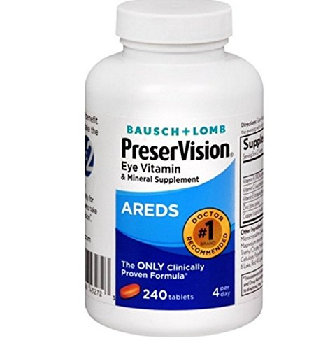 Bausch + Lomb PreserVision AREDS Eye Vitamin & Mineral Supplement Tablets, 240 Count Bottle
