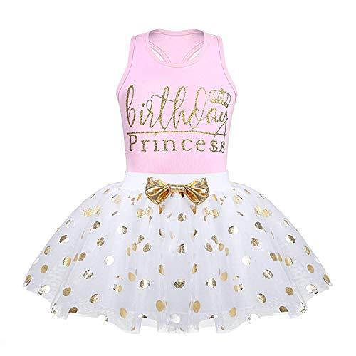 Toddler Kids Baby Girls Outfits Brithday Princess Vest Sleeveless Top +Dot Bubble Skirt Summer (Pink, 4T(110))