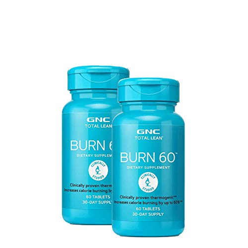 GNC Total Lean Burn 60, Twin Pack, 60 Tablets per Bottle, Thermogenic to Help Reduce Calorie Intake