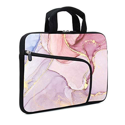 XMBFZ 11.6' 12.2 inches Laptop Sleeve Chromebook Case Ultrabook Case Notebook Sleeve PC Messenger Bag Tablet Case Neoprene Handle Sleeve for Kids Men Women, Two Pockets (Pink Marble)