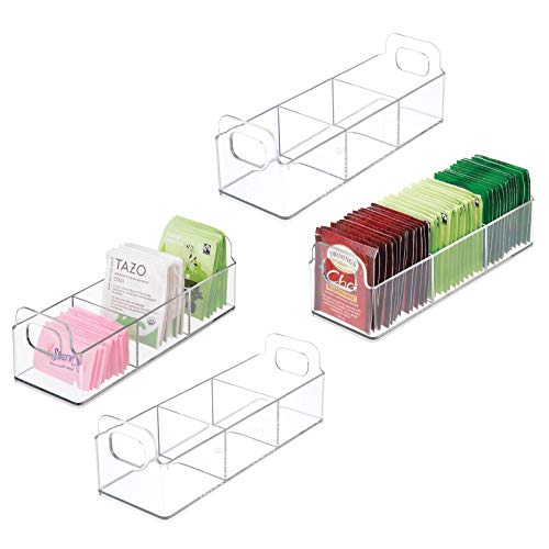 mDesign Plastic Kitchen Pantry, Medicine Cabinet, Countertop Organizer Storage Station Tea Caddy Holder for Beverage and Tea Bags, Sweetener, Individual Packet Condiments - 9' Long, 4 Pack - Clear
