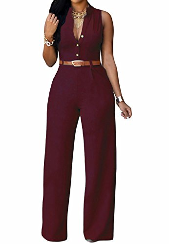 roswear Women's Plunge V Neck Belted Wide Leg Jumpsuits Burgundy Medium