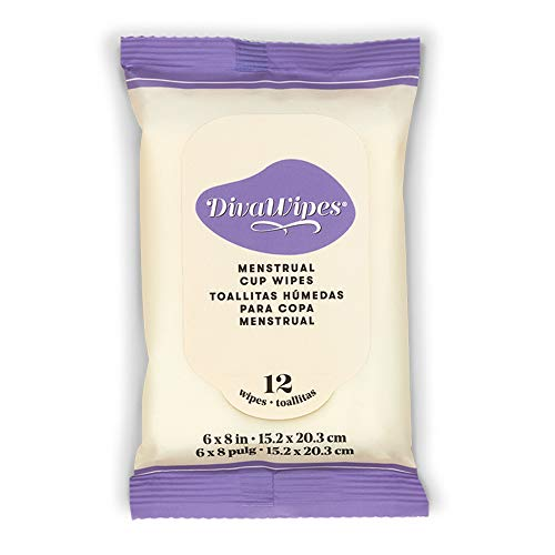 DivaCup DivaWipes - Menstrual Cup Wipes - Feminine Hygiene - 12 Wipes