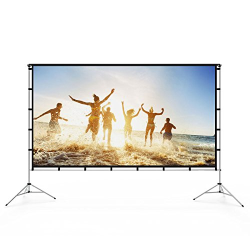 Vamvo Outdoor Indoor Projector Screen with Stand Foldable Portable Movie Screen 100 Inch (16:9) Full-Set Bag for Home Theater Camping and Recreational Events (100inch)